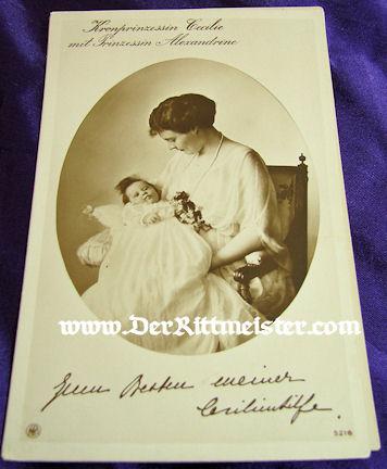 POSTCARD - KRONPRINZESSIN CECILIE - OLDEST DAUGHTER PRINZESSIN ALEXANDRINE - Imperial German Military Antiques Sale