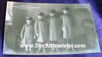 POSTCARD - FOUR OLDEST SONS - CROWN PRINCE WILHELM AND CROWN PRINCESS CECILIE - Imperial German Military Antiques Sale