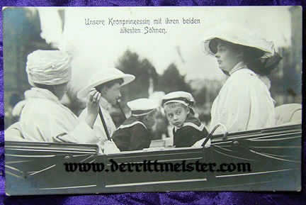 POSTCARD - KRONPRINZESSIN CECILIE & HER TWO OLDEST SONS - Imperial German Military Antiques Sale