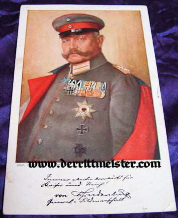 COLOR POSTCARD - GENERALFELDMARSCHALL PAUL von HINDENBURG - Imperial German Military Antiques Sale