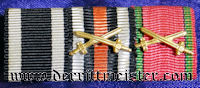 SAXONY - RIBBON BAR - THREE PLACE - OFFICERS - Imperial German Military Antiques Sale