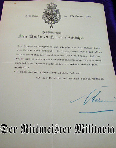 TELEGRAM - SIGNED - KAISERIN HERMINE - Imperial German Military Antiques Sale