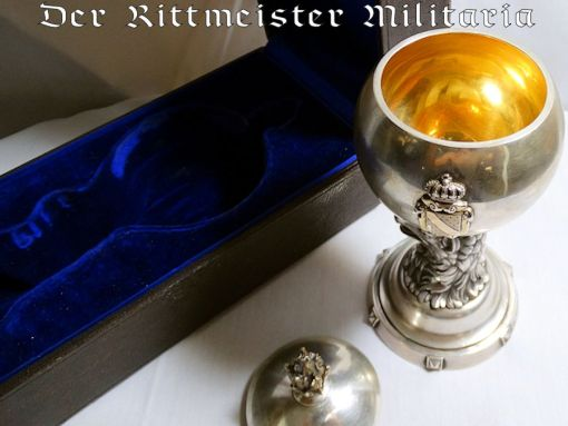 H. J. WILM-MADE DELUXE COVERED PRIVATE CHALICE/CEREMONIAL CUP ONCE OWNED BY BADEN'S GROßHERZOG FRIEDRICH II WITH ORIGINAL PRESENTATION CASE - Imperial German Military Antiques Sale