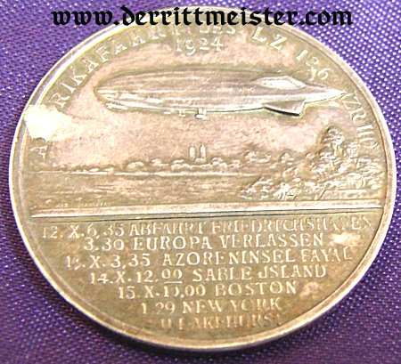GERMANY - TABLE MEDAL - HUGO ECKNER AND LZ 126 - Imperial German Military Antiques Sale