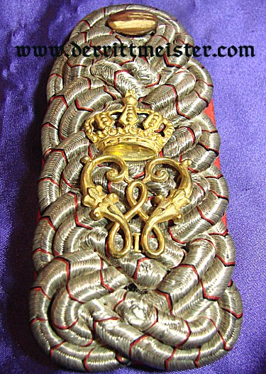 WÜRTTEMBERG - SHOULDER BOARDS - MAJOR - INFANTERIE-REGIMENT Nr 124 - Imperial German Military Antiques Sale