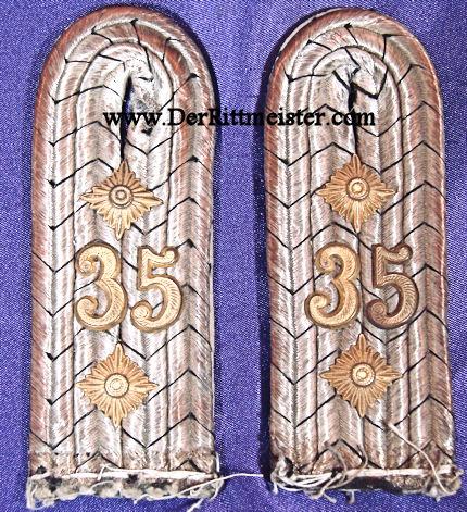 PRUSSIA - SHOULDER BOARDS - HAUPTMANN - FÜSILIER-REGIMENT Nr 35 - Imperial German Military Antiques Sale