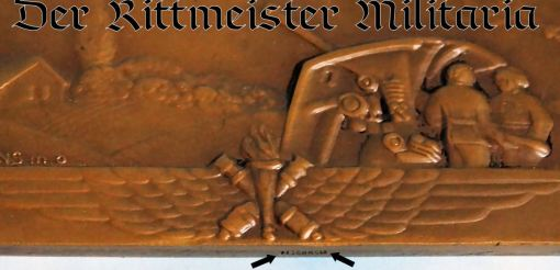 GERMANY - TABLE MEDAL - WW II ERA   - FEATURING ANTIAIRCRAFT CANNONS FIRING AT AIRPLANES - Imperial German Military Antiques Sale