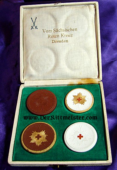 SAXONY - TABLE MEDAL - SAXON RED CROSS - MEISSEN - CASED - Imperial German Military Antiques Sale