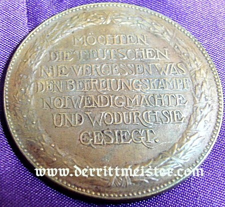 BAVARIA - TABLE MEDAL - CENTENNIAL - BATTLE OF LEIPZIG - BEFREIUNGSHALLE - Imperial German Military Antiques Sale