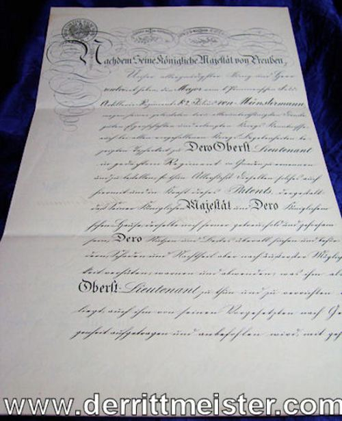 OFFICER'S PROMOTION PATENT FROM MAJOR TO OBERSTLEUTNANT SIGNED BY KAISER WILHELM II - Imperial German Military Antiques Sale