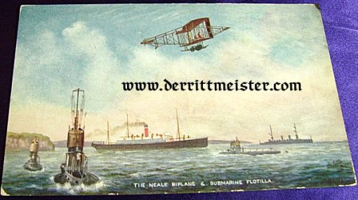 COLOR POSTCARD - ENGLISH BIPLANE FLYING OVER ENGLISH SUBMARINE FLOTILLA - Imperial German Military Antiques Sale