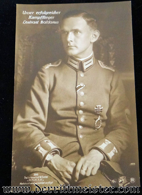 SANKE CARD Nr 390 OF PLM WINNER LEUTNANT HARTMUT BALDAMUS - Imperial German Military Antiques Sale
