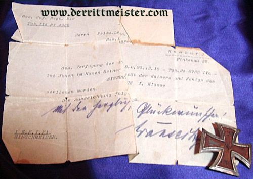 GERMANY - AWARD DOCUMENT - 1914 IRON CROSS 1st CLASS - FELDWEBEL LEUTNANT - RESERVE-INFANTERIE-REGIMENT NR 212 - Imperial German Military Antiques Sale