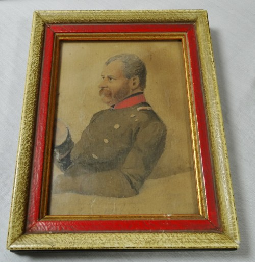 PRUSSIA - PHOTOGRAPH - FRAMED COLORIZED - 19th CENTURY OFFICER - Imperial German Military Antiques Sale