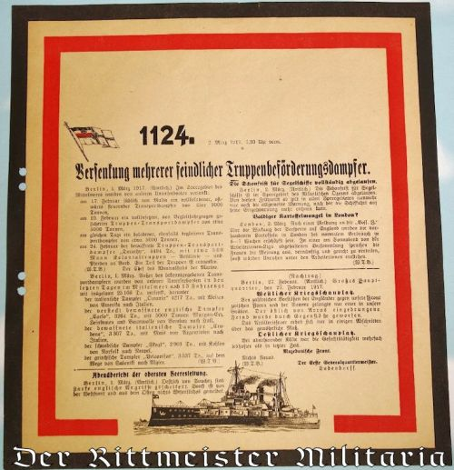 GERMANY - COMMUNICATION - OFFICIAL WAR COMMUNIQUÉ Nr 1124 ANNOUNCING 2 MARCH 1917's WAR NEWS - Imperial German Military Antiques Sale