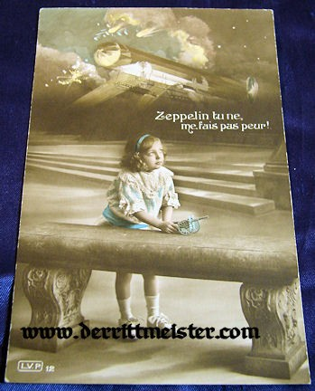 POSTCARD - YOUNG FRENCH GIRL - ZEPPELIN - Imperial German Military Antiques Sale