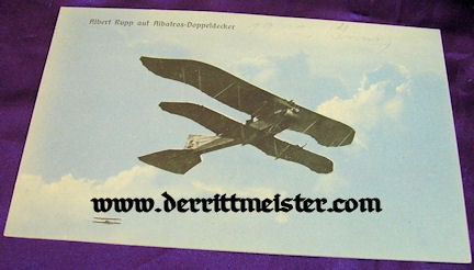 COLOR POSTCARD - EARLY ALBATROS BIPLANE - Imperial German Military Antiques Sale