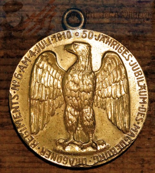 PRUSSIA - DRAGONER-REGIMENT NR 6 - VETERAN'S MEDAL COMMEMORATING FIFTY YEARS - Imperial German Military Antiques Sale