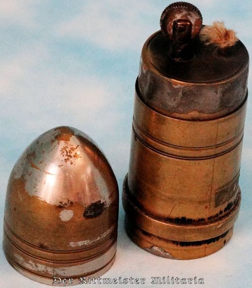 SMALL FRENCH-MANUFACTURED TRENCH ART ARTILLERY SHELL TURNED CIGARETTE LIGHTER - Imperial German Military Antiques Sale