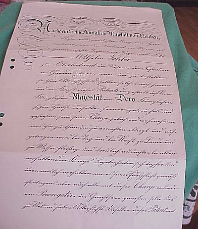 PRUSSIA - PROMOTION DOCUMENTS (PATENTS) FOR AN OFFICER IN THE PRUSSIAN ARMY - Imperial German Military Antiques Sale