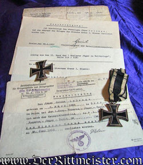 GERMANY - 1914 IRON CROSSES 1st AND 2nd CLASS - DOCUMENTS & DECORATIONS - Imperial German Military Antiques Sale