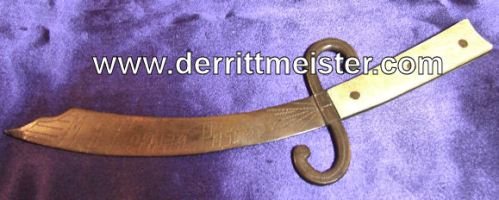 TRENCH ART LETTER OPENER - SHAPE - CURVED SWORD - Imperial German Military Antiques Sale