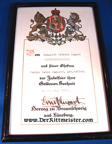 FRAMED DOCUMENT - 50th WEDDING ANNIVERSARY CONGRATULATIONS SIGNED BY ERNST AUGUST DUKE (HERZOG) - BRAUNSCHWEIG - Imperial German Military Antiques Sale