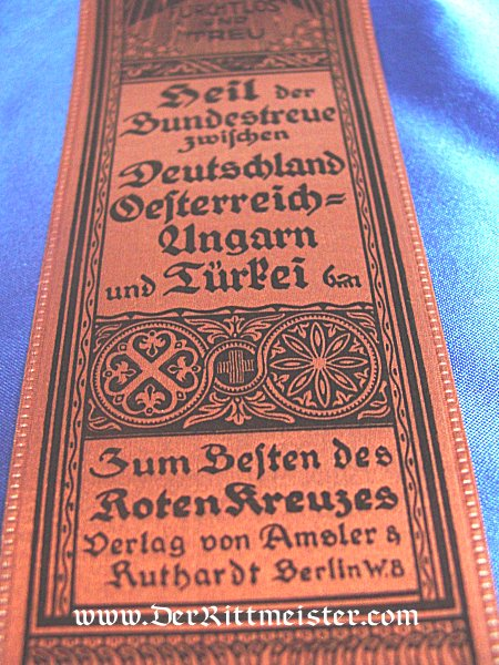 VIVAT RIBBON - JOINT COOPERATION BETWEEN GERMANY, HUNGARY, AND TURKEY - Imperial German Military Antiques Sale