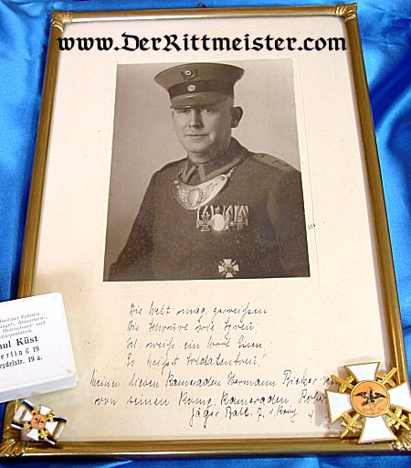 FRAMED PHOTO - DECORATION - BOUTONNIERE - JÄGER zu PFERDE-REGIMENT Nr 7 - PRUSSIA - Imperial German Military Antiques Sale