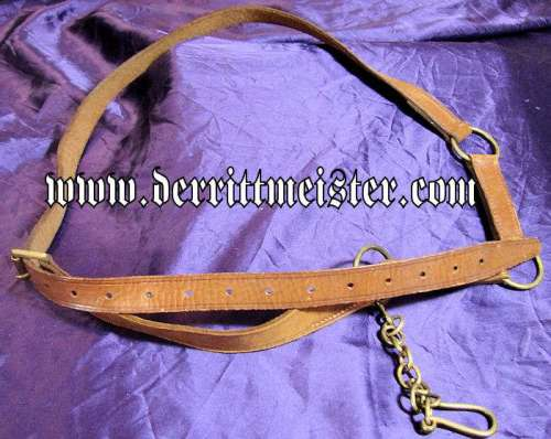GERMANY -SWORD BELT WITH HANGER -  BROWN LEATHER - Imperial German Military Antiques Sale