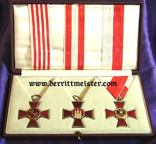HANSEATIC CROSSES - FREE STATES - HAMBURG, LÜBECK, AND BREMEN - ORIGINAL PRESENTATION CASE - AWARDED - AUSTRIA'S ARCHDUKE EUGEN - Imperial German Military Antiques Sale