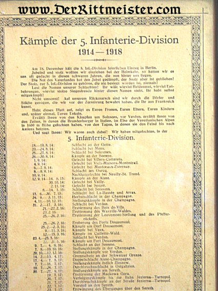 PRUSSIA - DOCUMENT - FRAMED - HISTORY OF INFANTERIE-DIVISION Nr 5 - Imperial German Military Antiques Sale