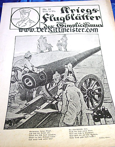 GERMANY - NEWSPAPER - KRIEGS-FLUGBLÄTTER DES SIMPLICISSIMUS - Imperial German Military Antiques Sale
