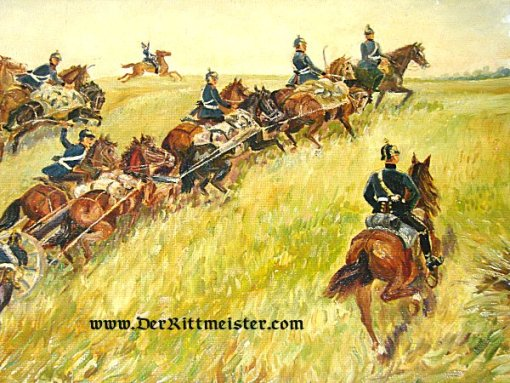 PRUSSIA - PAINTING - PRUSSIAN ARTILLERY - FRANCO-PRUSSIAN WAR - 1870-1871 - Imperial German Military Antiques Sale