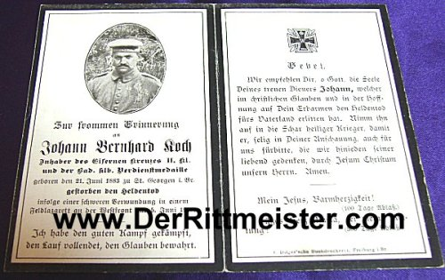 GERMANY - DEATH CARD - Johann Bernhard Koch - Imperial German Military Antiques Sale