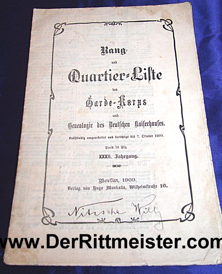 PRUSSIA - OFFICERS LISTING - 1909 - GARDEKORPS - Imperial German Military Antiques Sale