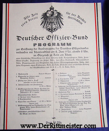 GERMANY - PLAYBILL - 1926 - MUSICAL PROGRAM - OFFICERS' BUND - Imperial German Military Antiques Sale
