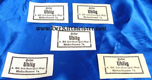 PRUSSIA - NAME TAGS (5) - LEIB-GARDE-HUSAREN-REGIMENT - Imperial German Military Antiques Sale
