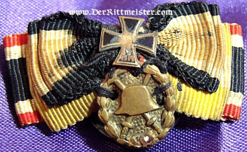 GERMANY - BOUTONNIERE - FOUR RIBBON - ATTACHED IRON CROSS AND GOLD WOUND BADGE - Imperial German Military Antiques Sale