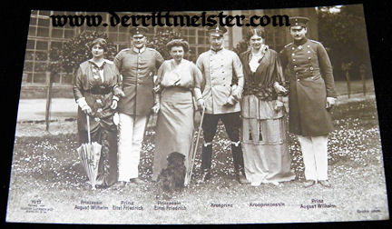 POSTCARD - CROWN PRINCE WILHELM - CROWN PRINCESS CECILIE - TWO YOUNGER BROTHERS - WIVES - Imperial German Military Antiques Sale