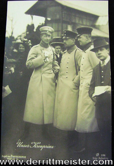 POSTCARD - KRONPRINZ WILHELM VISITING SOLDIERS AND PUBLIC - Imperial German Military Antiques Sale