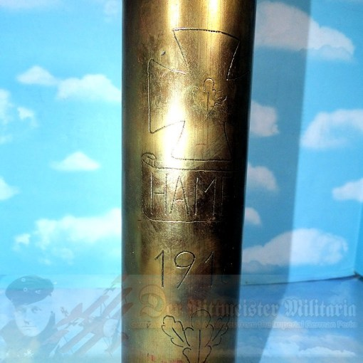 TRENCH ART - ARTILLERY SHELL CASING - 77MM - Imperial German Military Antiques Sale