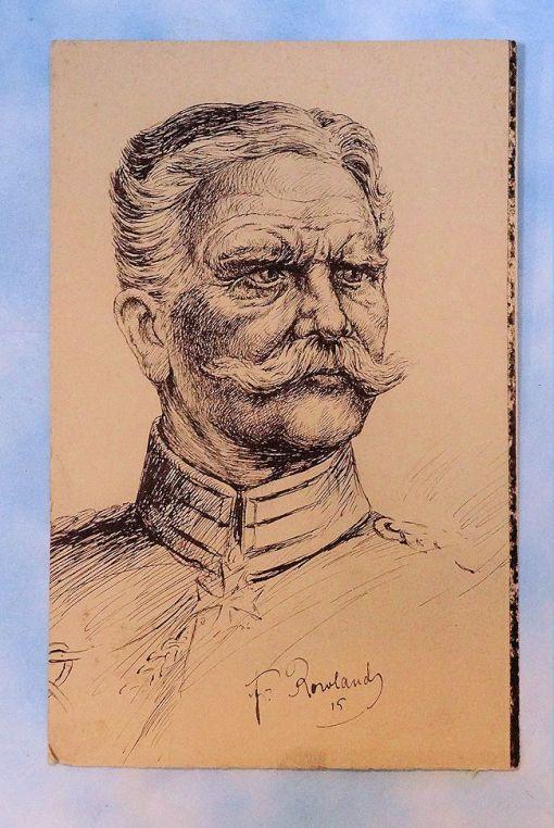 PEN AND INK DRAWING - GENERALFELDMARSCHALL AUGUST VON MACKENSEN - Imperial German Military Antiques Sale