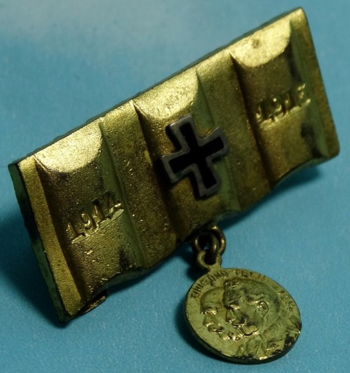 GERMANY - PATRIOTIC PIN - TRENCH ART - ARTILLERY SHELL - Imperial German Military Antiques Sale