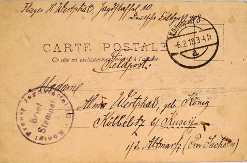 POSTCARD - FELDPOST-MAILED - FROM JASTA 10 SOLDIER