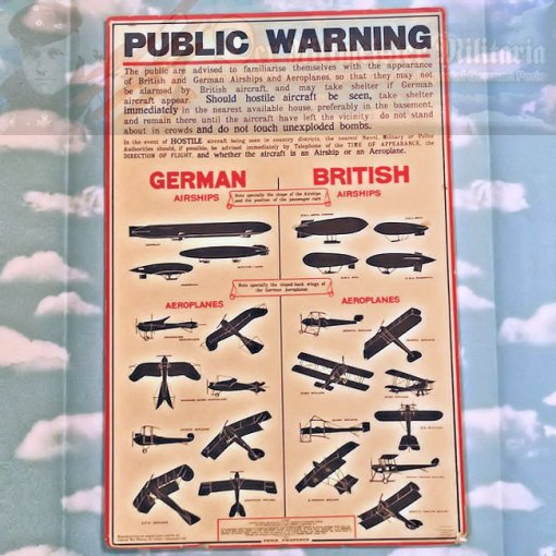 BRITISH - POSTER - REPRINT - WARNS THE PUBLIC ABOUT GERMAN ZEPPELIN AND AIRCRAFT DANGERS