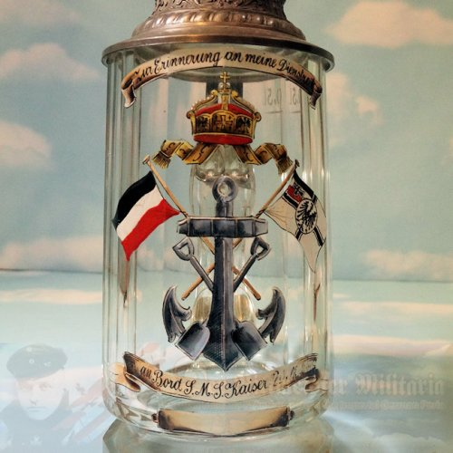 IMPERIAL GERMANY - STEIN - ENLISTED MAN  - S.M.S. KAISER WILHELM II - GLASS VETERANS STEIN