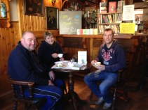 Graham Kent, who runs Clinking Cups Coffee Stop, having a cup of coffee and a chat with Roberta McIntyre and Rodney Donaldson