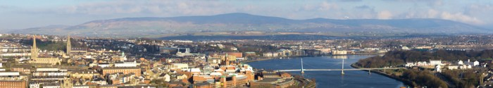 """panoramic view of Londonderry as see from the serviced apartment """"The View"""""""