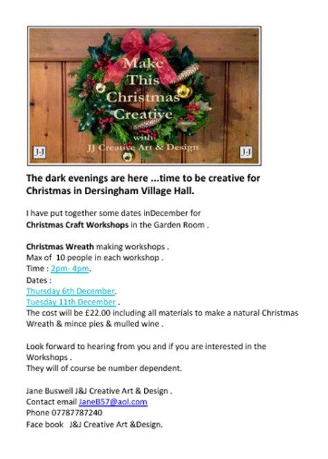 Christmas wreath workshop poster